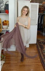 Bacci taupe dress, Blue Pacific cashmere and silk scarf