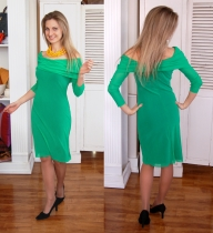 Petit Pois off-shoulder green dress, also available in black